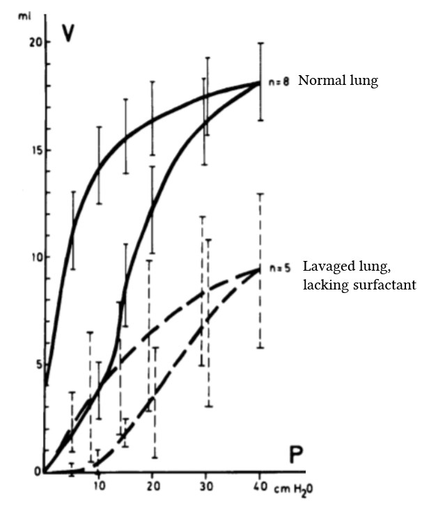 compliance of normal and lavaged lung (Lachmann et al, 1980)
