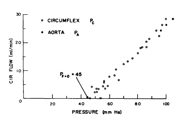 canine coronary pressure-flow relationship from Bellamy et al (1978)